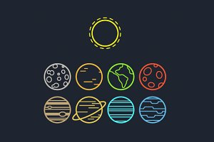Solar system line icons
