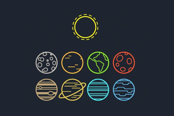 Solar System Line Icons Icons Creative Market