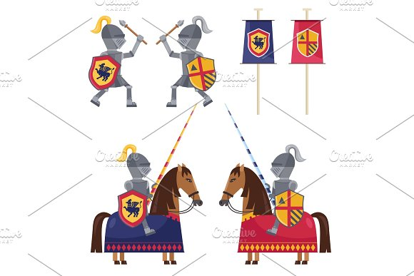 Set Of Medieval Knights And Banner