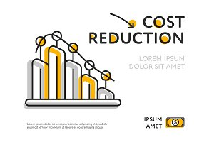 Lowering infographic chart showing cost reduction