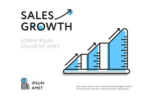 Colorful chart representing sales growth
