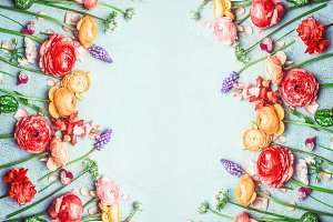 Colorful garden flowers flat lay