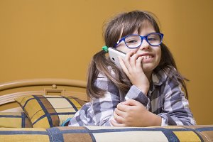 little girl talking on the mobile ph