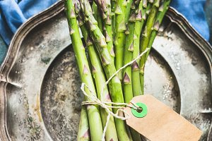 Asparagus bunch with label mock up
