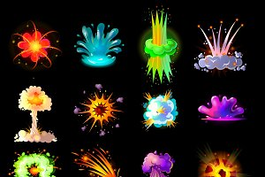 Cartoon Colorful Explosions Set