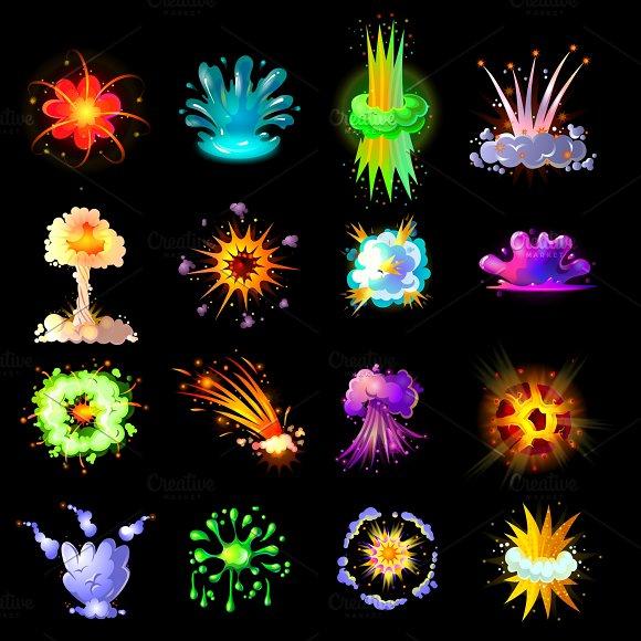 Cartoon Colorful Explosions Set