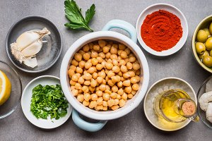 Chickpea in bowl and ingredients
