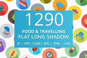 1290 Food & Travelling Flat Icons