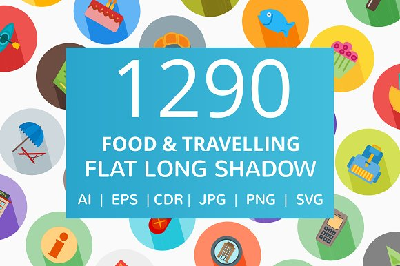1290 Food Travelling Flat Icons