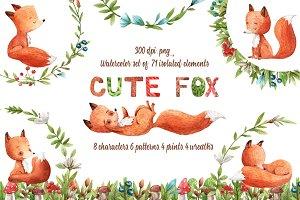 Cute Fox - Watercolor Clip Art Set
