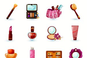 Woman cosmetics cartoon icons