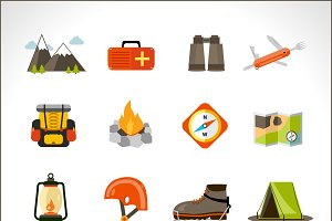 Mountain climbing flat icons set