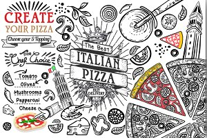 Italian food ingredients as pizza