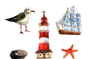 Watercolor nautical elements set