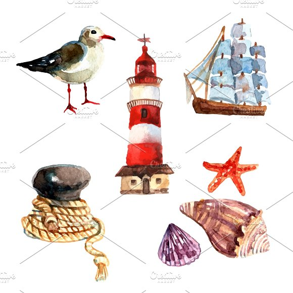 Watercolor Nautical Elements Set