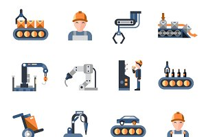 Production line industrial icons