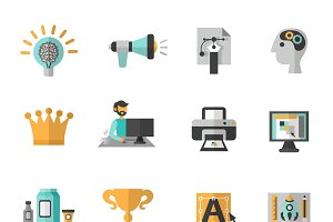 Branding creative icon flat set