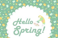 Bird and spring flowers