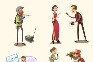 Journalist characters cartoon set
