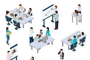Coworking people isometric set