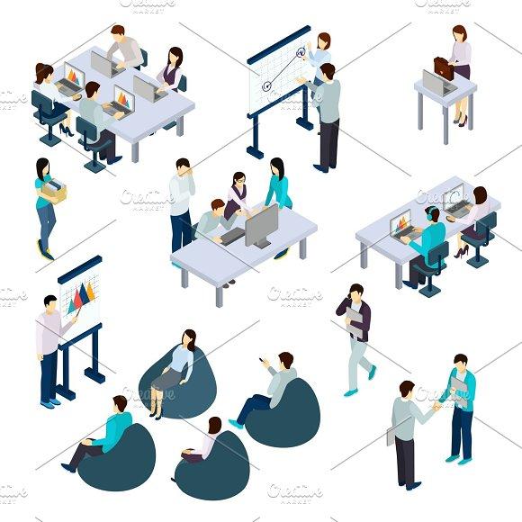 Coworking People Isometric Set