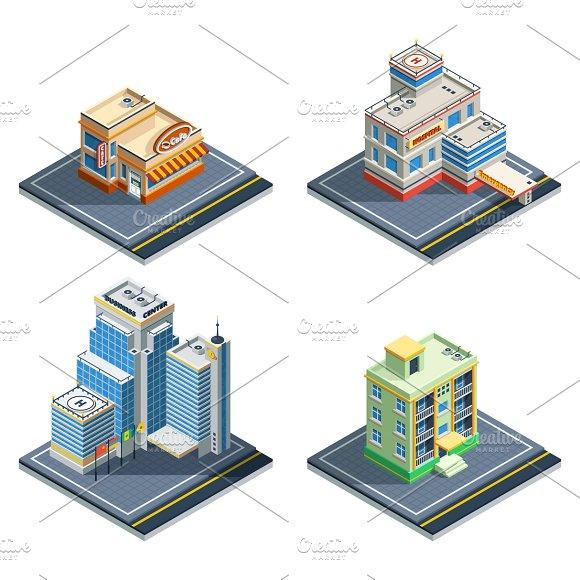 Building Isometric Icon Set