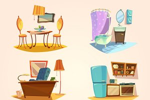 Interior cartoon retro set