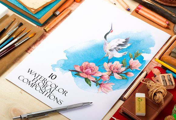 10 Watercolor Floral Composition Set