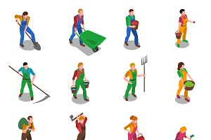 Farmers at work isometric icons