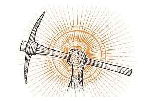 Pickaxe in raised hand drawing.
