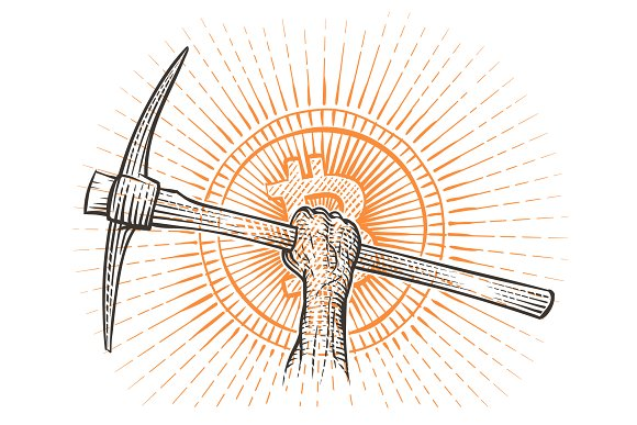 Pickaxe In Raised Hand Drawing