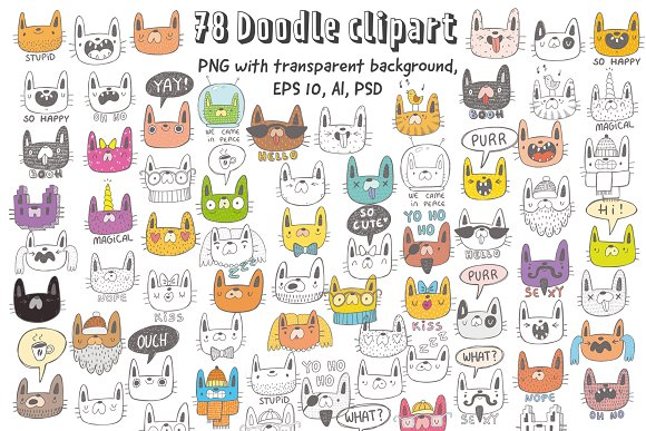 Collection of doodle cats  in Objects - product preview 1