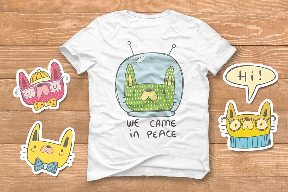 Collection of doodle cats  in Objects - product preview 2
