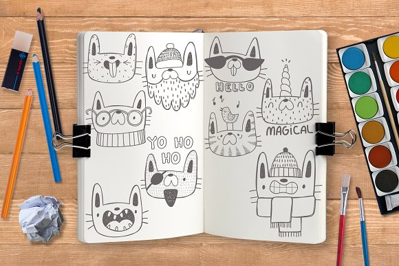 Collection of doodle cats  in Objects - product preview 3