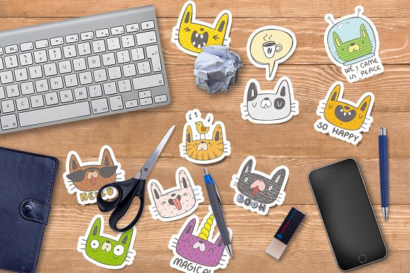 Collection of doodle cats  in Objects - product preview 4
