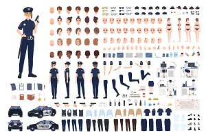 Policewoman constructor or DIY kit