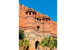 Amar Singh Gate of Agra Fort. UNESCO heritage site in India