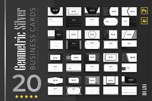 20 Geometric-Silver Business Cards