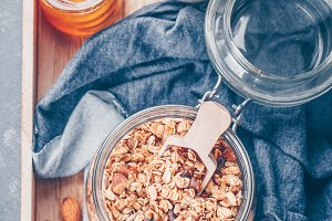Healthy Breakfast - Granola, milk or