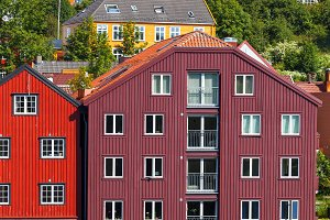 Wooden houses in Trondhheim, Norway