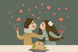 Couple in love eating spaghetti