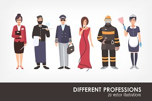 Set of different people profession