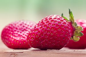 strawberries, close up