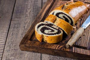 Homemade roll with poppy seeds