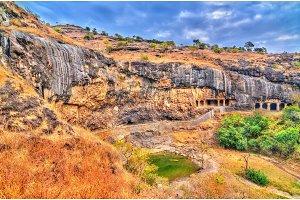Waghora Waterfalls at Ellora Caves in the dry season. India