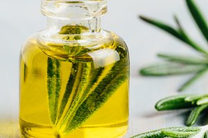 Rosemary essential oil in small glass bottle fresh rosemary