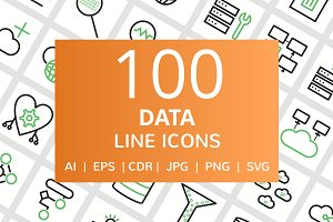 100 Data Line Green & Black Icons