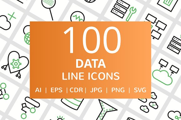 100 Data Line Green Black Icons
