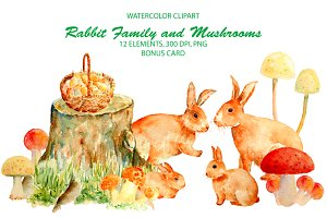 Watercolor Rabbit Famly & Mushrooms