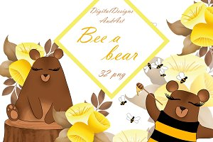 Bee a bear clipart